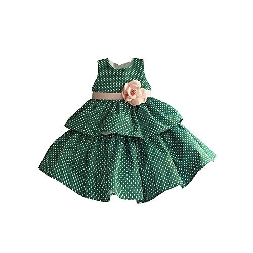 Anniversary Sales Buy Generic Green Pink Polka Baby Girls Dress