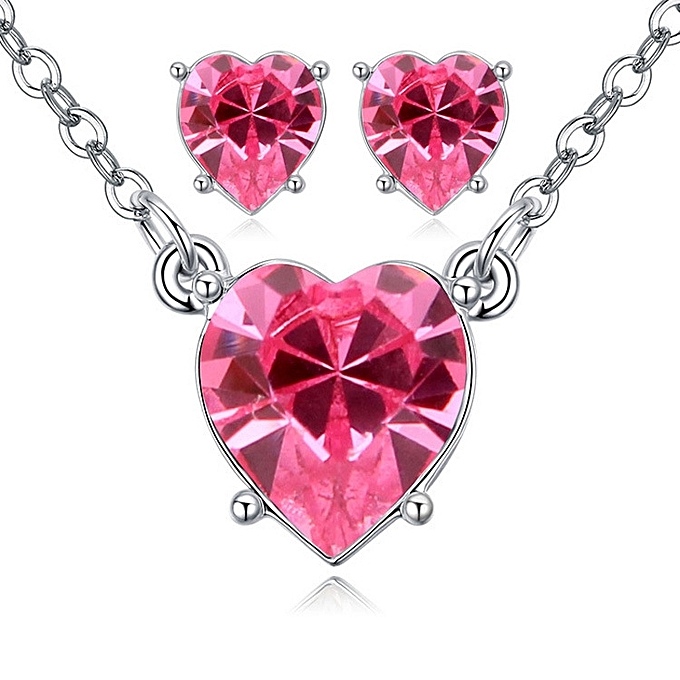 1d6b621d7e74a Adopt the Swarovski chemical element crystal suit the hearts are like one  necklace ear nail decoration suit