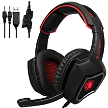 PC Gaming Headsets 3.5mm Wired Earphone Over Ear Game Headphone with Microphone LED Light Volume Control for PC