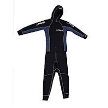 UJ DIVE&SAIL Men Scuba Cloth Wetsuit With Hood Zipper Split Spearfishing Wet Suit-black