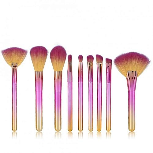 【Big Sale】9Pcs Eyeshadow Powder Foundation Facial Blush Makeup Brushes  Cosmetic Brush Set