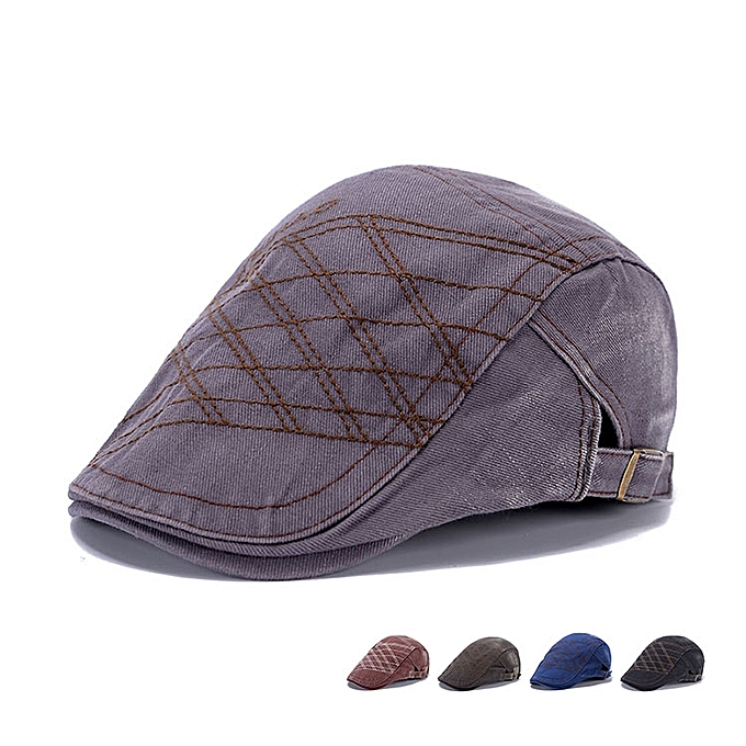 Men Vintage Washed Beret Hat Buckle Paper Boy Twill Hats Newsboy Cabbie  Gentleman Caps de8110ff8f9