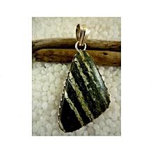Dark Green Serpentine with white stripes Semi Precious Gemstone in 925' Sterling Silver Pendant