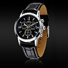 Sport Military Quartz Dial Clock Men Leather Wrist Watch Round Case BK