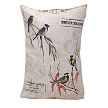 Unisex Twittering Square Linen Pillow - White