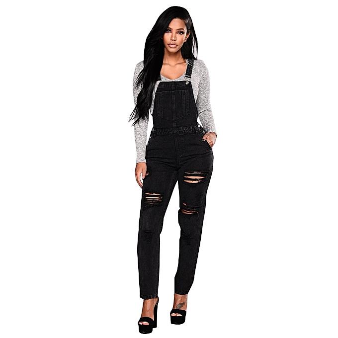 97c4721f200 ... jiuhap store Women Slim Denim Jeans Pants Ripped Casual Overalls Straps  Jumpsuit Trousers-Black ...