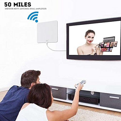 Super Thin Digital Indoor Amplified HDTV TV Antenna - 50 Mile Range With 10  FT Coaxial Cable