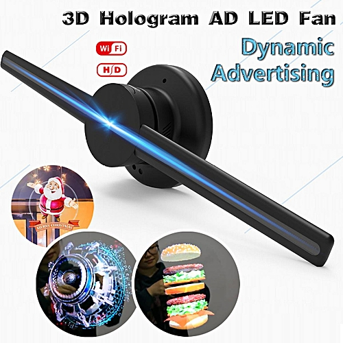 WIFI 42cm 3D Holographic Projector Display Fan LED Hologram Player Lamp  Advertising [US plug]