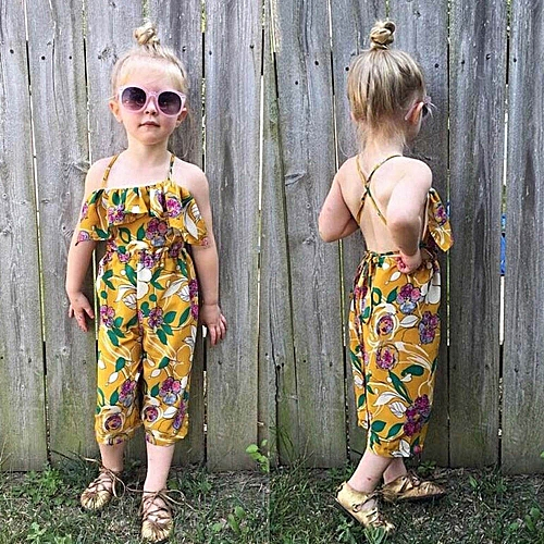 Buy Muyi Toddler Kid Baby Girl Flower Print Straps Rompers Jumpsuits