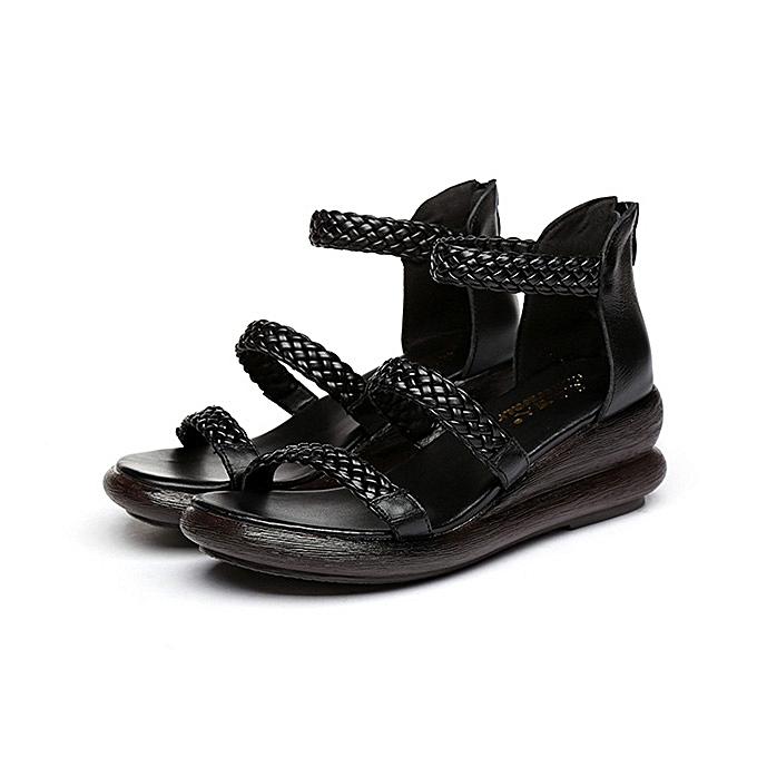 129e04c42 ... SOCOFY Women Handmade Retro Shoe Knittind Leather Wedge Sandals ...