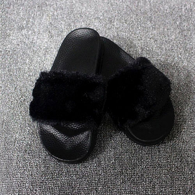 cf6c6d386725 Womens Ladies Slip On Sliders Fluffy Faux Fur Flat Slipper Flip Flop Sandal  (CN SIZE