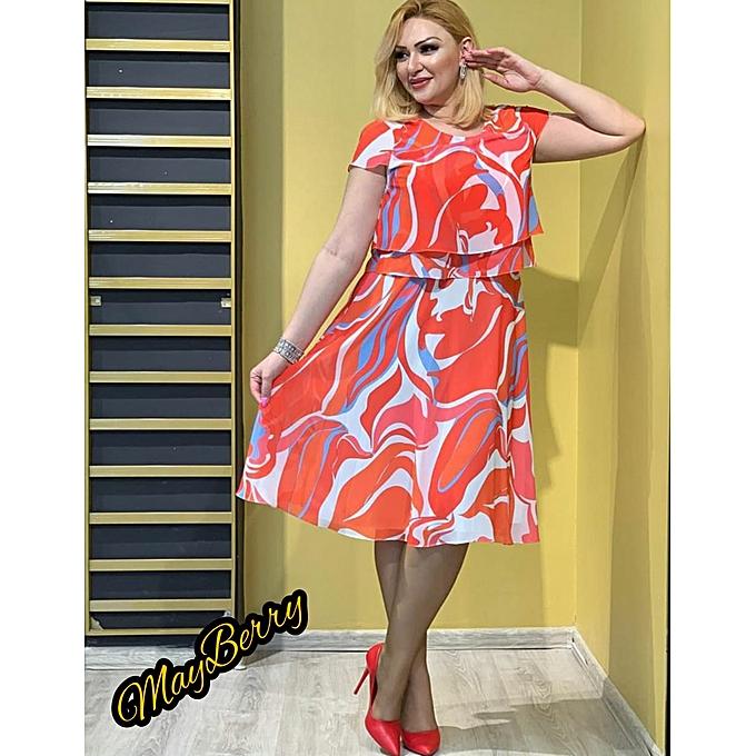c16eba3a61 Red Printed Rhinestone Embellished Chiffon Turkey Dress