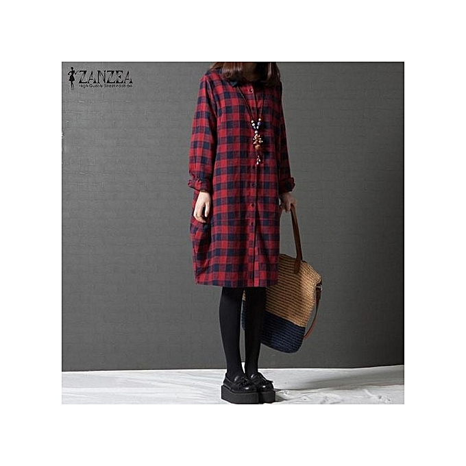 9f3fbd43eed5b6 ZANZEA Women Retro Red Plaid Check Long Sleeve Long Shirt Blouse Autumn  Turn-down Collar