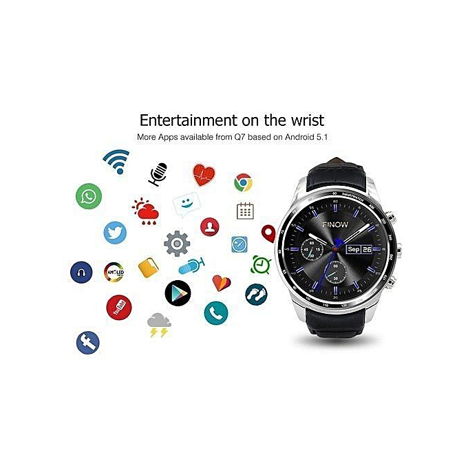 Q7 Smart Watch With Camera Support 32GB TF Card 3G Wifi GPS Bluetooth Heart  Rate Smartwatch For Android IOS - Silver