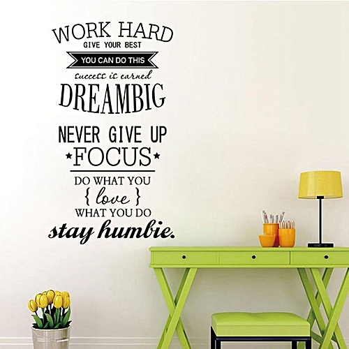 generic wall decals quotes work hard vinyl wall sticker office
