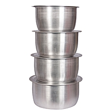 8 Pcs Set Of Stainless Aluminium Sufuria No 1.4 - Silver