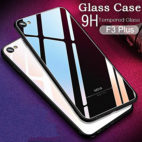 Glass Case For OPPO F3 Plus Case HD Clear Full Protection Tempered Glass  Back Cover For F3 Plus Housing