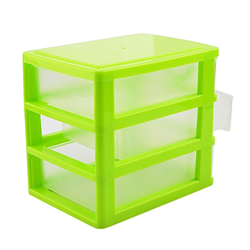 Candy Color Three Layers Mini Draw Out Desk Storage Box Container   Green