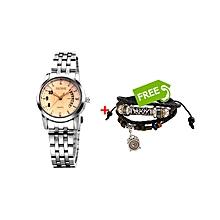 Silver Evolution Chrono Ladies Watch +FREE Bracelet