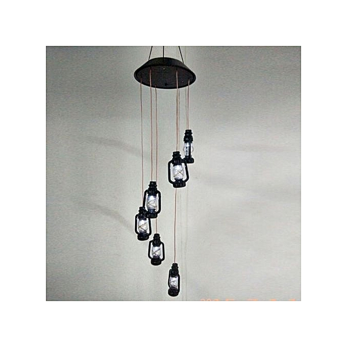 Solar Ed Color Changing Wireless Wind Chimes Led Light Outdoor Garden Balcony Decor Black