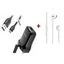 3 Pin Charger & Sync Cable - Black Plus Generic Heavy Bass Earphones White