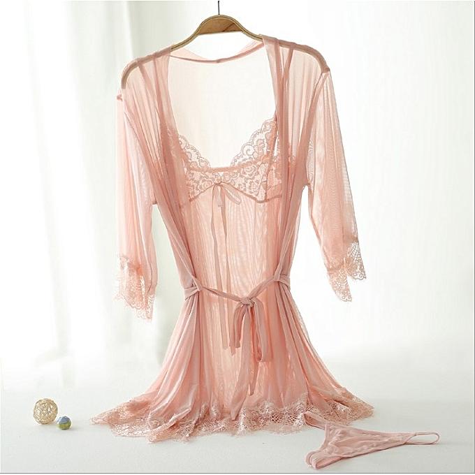 695e6897f217a8 Fashion Women's Nightgown Sleepwear Dress Sexy 3PS Suit- Pink @ Best ...