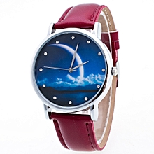 Woman PU Leather Quicksand Rhinestone Quartz Watch Bracelet Watches Ladies Wristwatch- Maroon