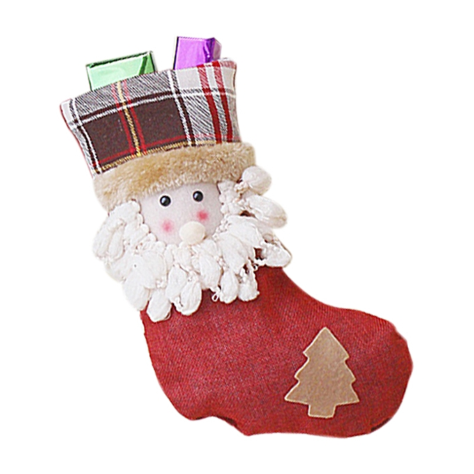 Christmas Decorations Free Christmas Stocking Clthes Santa Socks Christmas Gift For New Year Candy Gift Bags