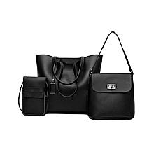 Ladies 3 in 1 Handbag Set - Black