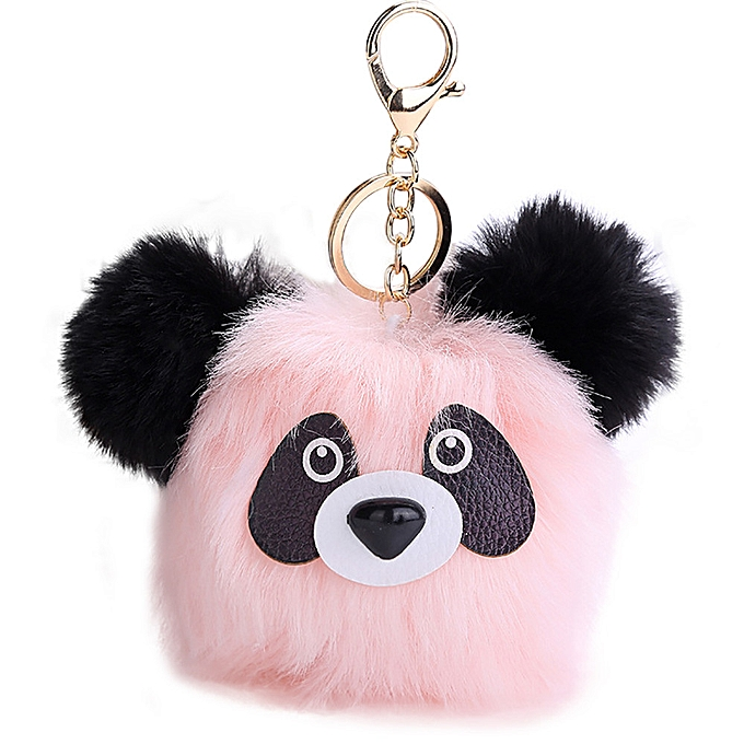 15CM Cute Panda Keychain Pendant Women Key Ring Holder Pompoms Key Chains  ... abe35a5a37