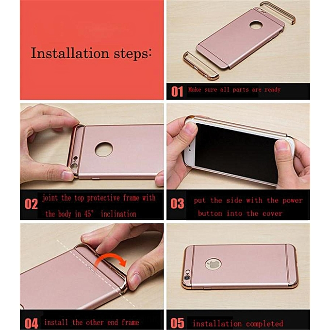 For Oppo A77 Shockproof 3 In 1 Hard PC Hybrid Matte Plating Protective Case  Cover Casing 207151 (Gold)
