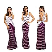 Nigerian Sleeveless Strap Maxi Dresses Evening Gown-Purple