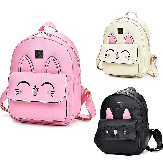 a7881c0b7 New Women Girls Backpack PU Leather Rabbit Ear Casual Student Schoolbag 4  Piece Set Black/