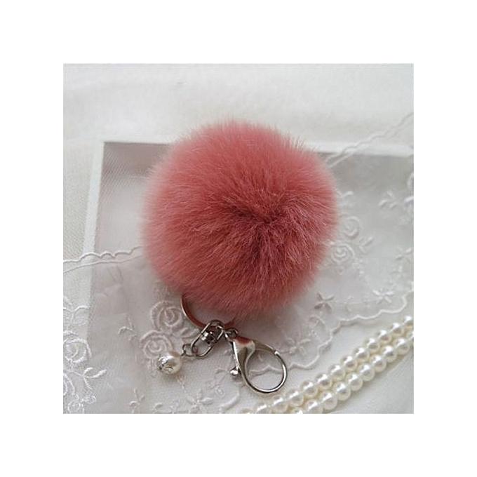 11ce2b0696 Fashion Soft Rabbit Fur Ball Car Cell Phone Keychain Pendant Handbag Charm  Keyring Pom Pink