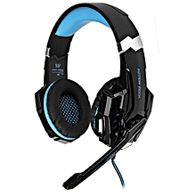 KOTION EACH G9000 Gaming Headphone 7.1 Surround USB Vibration Game Headset Headband Headphone with Mic LED Light for PC Gamer - BLACK AND BLUE