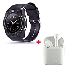 S006 Smart Watch With Free Wireless Earphone - Black