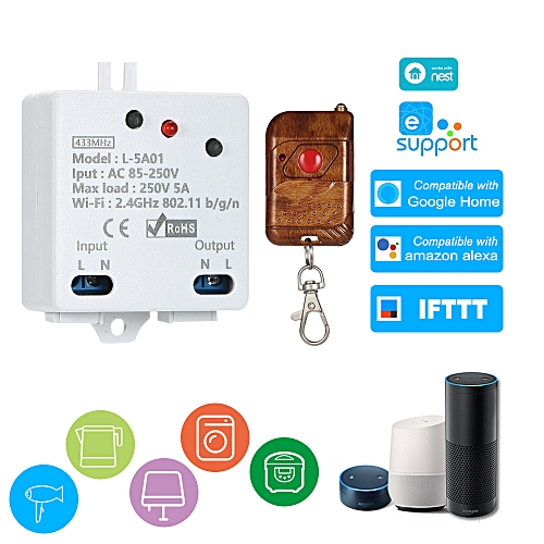 eWelink WI-FI Smart Switch RF 433MHz Compatible with Sonoff 5A/1100W  Wireless Switch With 1PCS RF433MHz Remote Controller with Timing Function  Remote
