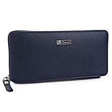 Men Zigzag F Ing Hardware Zipper Long Money Cell Phone Wallet - Blue