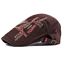 Unisex Cotton Embroidery Washed Newsboy Beret Hat Duckbill Golf Flat Buckle Cabbie Cap For Men Women