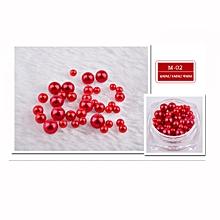 12 Colors Pearl 10g/Box Nail Glitter Nail Beads Do Not Fade Pearl Nail Decorat -Red