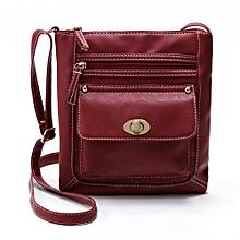 bluerdream-Womens Leather Satchel Cross Body Shoulder Messenger Bag-Red