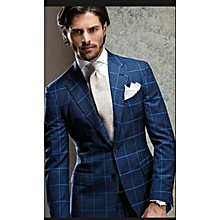 Navy Checked Regular Fit Wool 2 Piece Suit