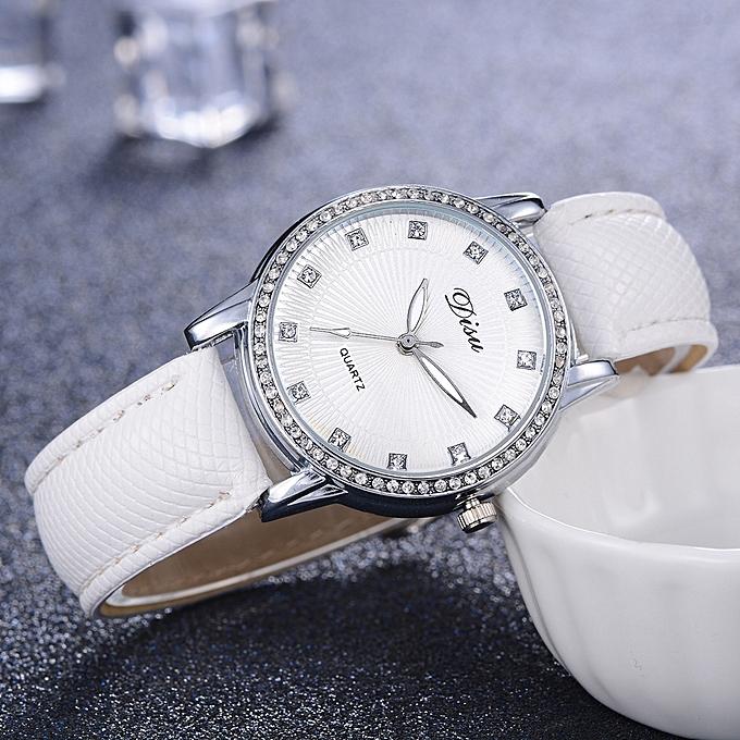 714e73025 ... DS075 Women Analog Quartz PU Leather Jewelry Watch with Artificial  Diamonds- White ...