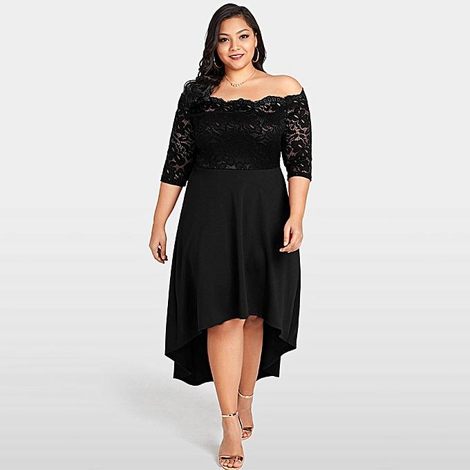 bed64cc2c5ec Women Off Shoulder Party Dress Plus Size Lace Scalloped Irregular Hem  Nightclub Vestidos Dress