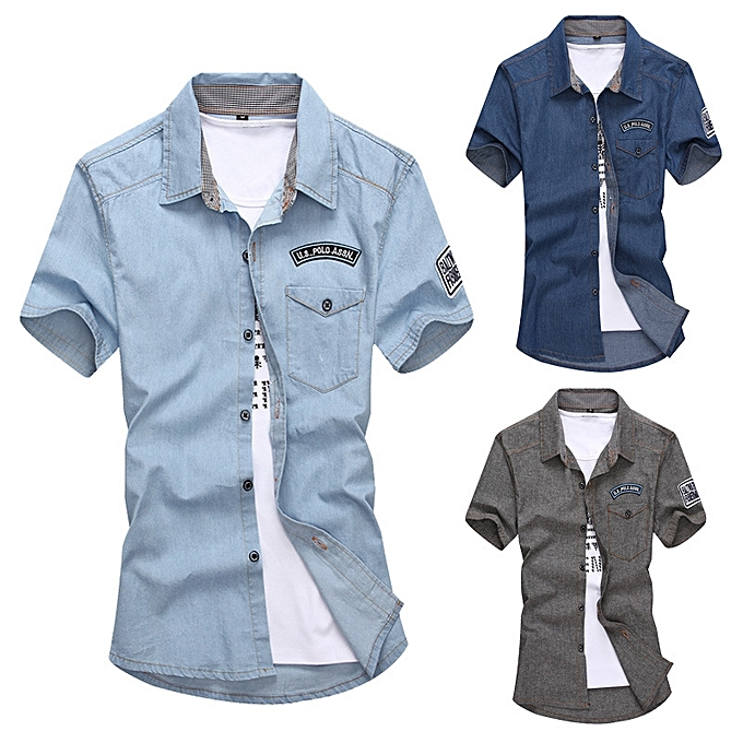 c01c79700bf Men s Denim Long Sleeve Shirt Brand Clothing Male Slim Fit Shirts Denim  Workwear Men Jeans Shirt