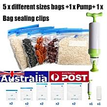 10Pcs Sous Vide Bags Reusable Vacuum Sealed Bag Food Saver Storage + Hand Pump