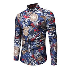 Fashion Personality Men's Casual Slim Long-sleeved Printed Shirt Top Blouse