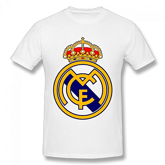 uk availability c66a7 1752b Real Madrid Logo Men's Cotton Short Sleeve Print T-shirt White