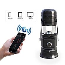 In 1 Retractable LED Solar Lantern Portable Emergency Light Bluetooth Music Speaker #black