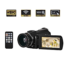 """Andoer AC3 4K UHD 24MP Digital Video Camera Camcorder DV Recorder with Extra 0.45X Wide Angle Lens 3.0"""" Rotation LCD Touchscreen 30X Zoom Support WiFi Connection IR Night Vision With Hot Shoe for External Microphone"""